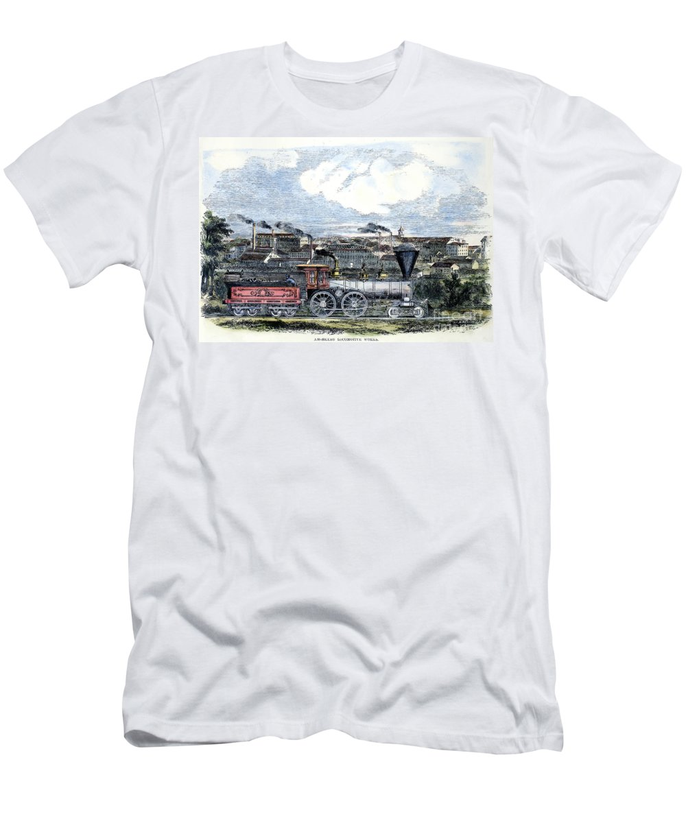1855 Men's T-Shirt (Athletic Fit) featuring the photograph Locomotive Factory, C1855 by Granger