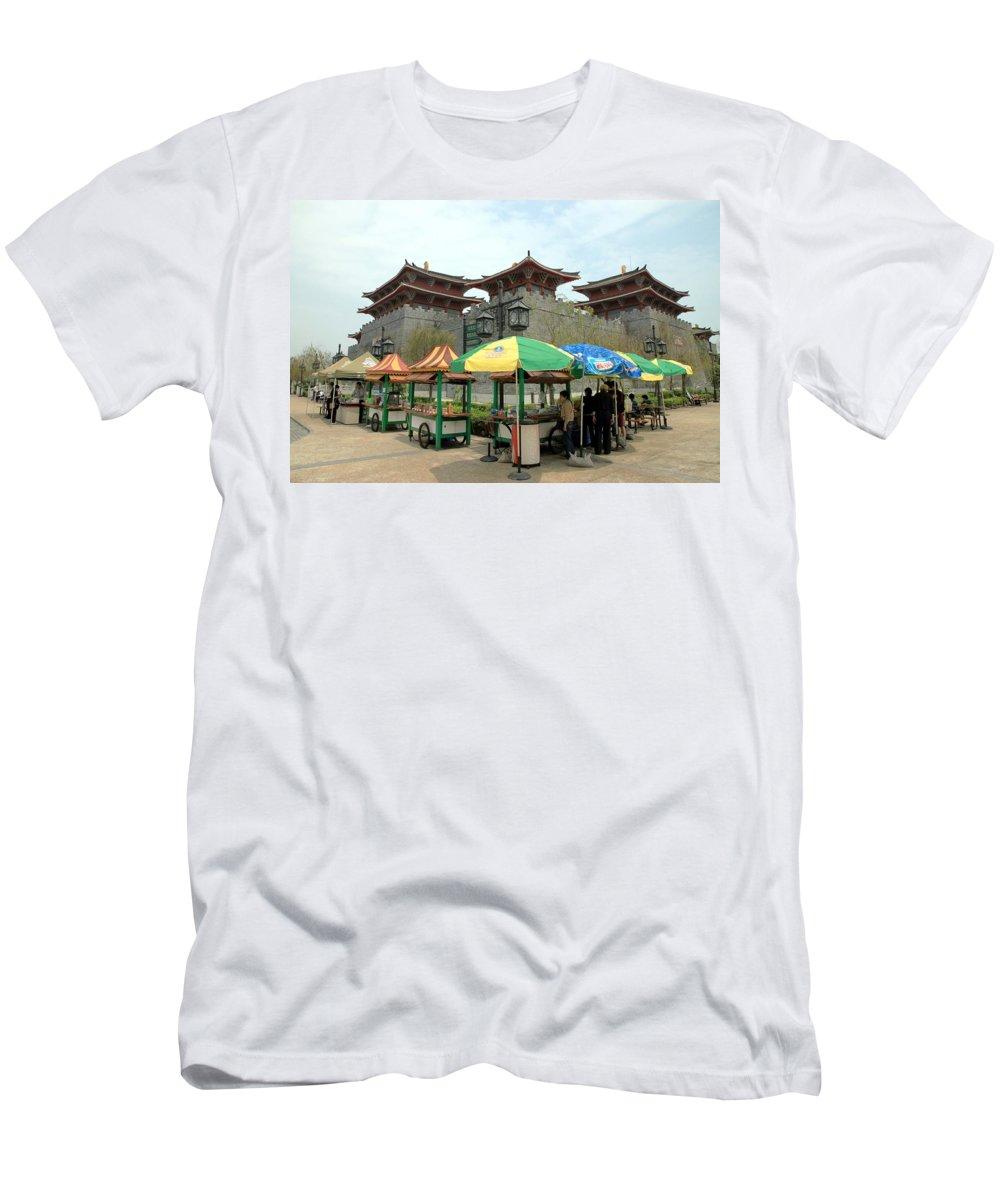 Macau Men's T-Shirt (Athletic Fit) featuring the photograph Macau Fisherman's Wharf by Valentino Visentini