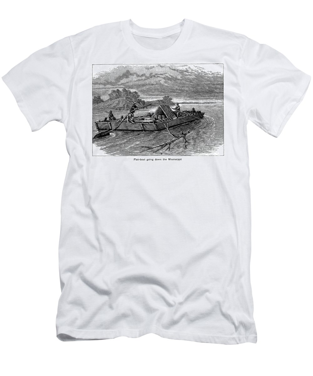 19th Century Men's T-Shirt (Athletic Fit) featuring the photograph Mississippi: Flatboat by Granger