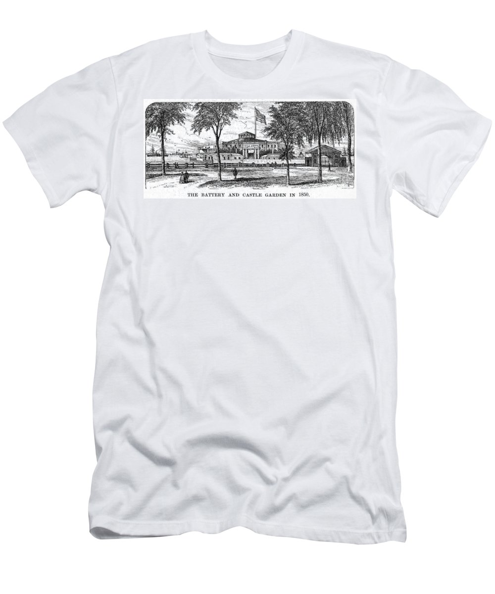 1850 Men's T-Shirt (Athletic Fit) featuring the photograph New York: Castle Garden by Granger