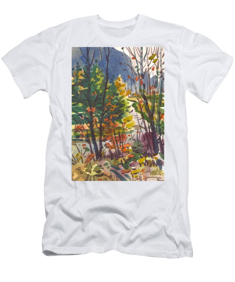Watercolor T-Shirt featuring the painting River Bend by Donald Maier
