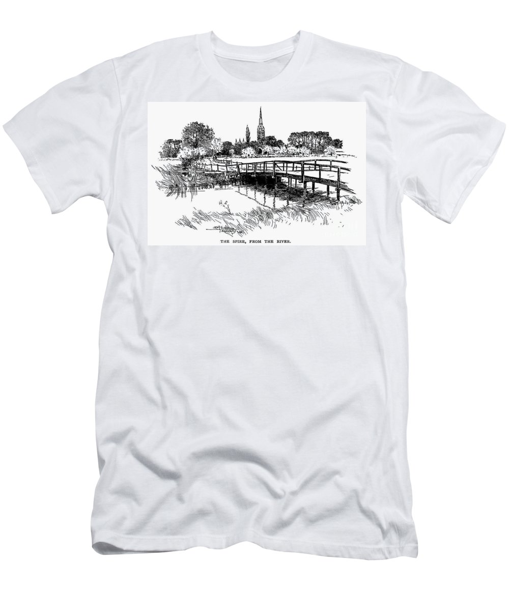 19th Century Men's T-Shirt (Athletic Fit) featuring the photograph Salisbury Cathedral by Granger