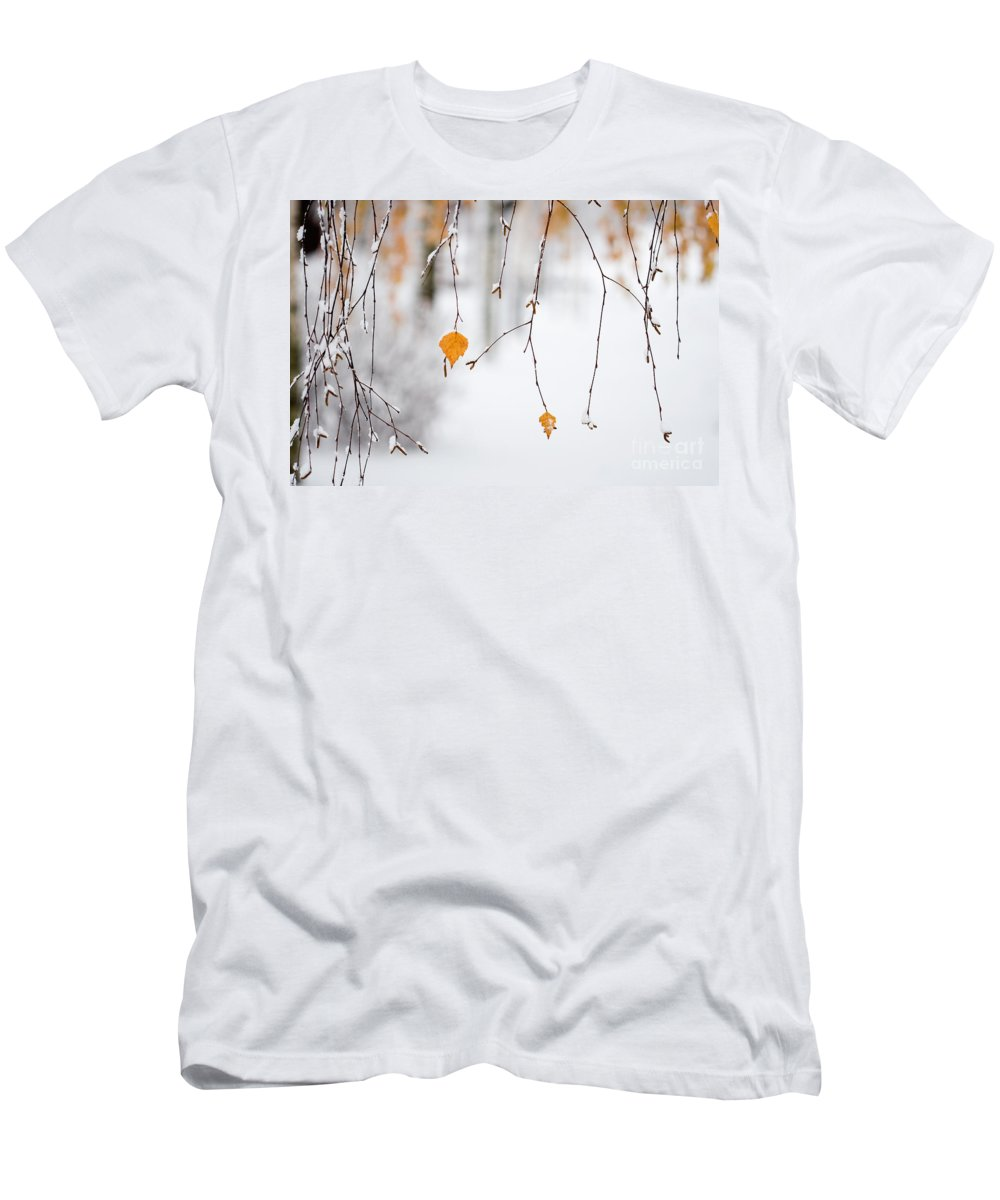 Autumn Men's T-Shirt (Athletic Fit) featuring the photograph Snowing In Autumn by Kati Finell