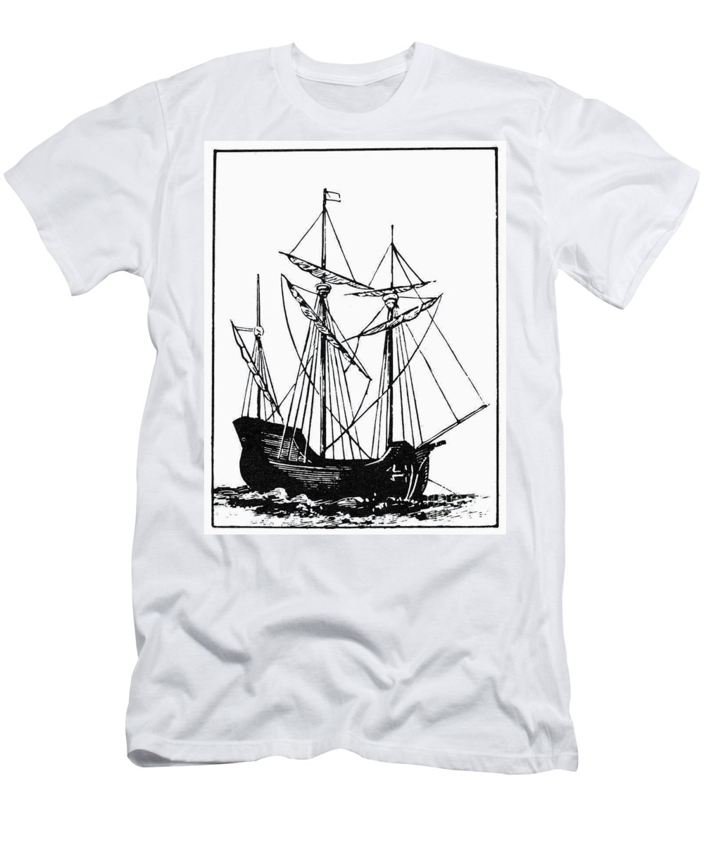 17th Century Men's T-Shirt (Athletic Fit) featuring the photograph The Mayflower by Granger