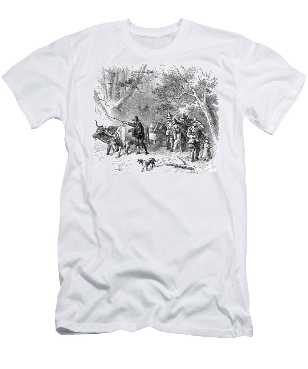 1636 Men's T-Shirt (Athletic Fit) featuring the photograph Thomas Hooker (1586-1647) by Granger