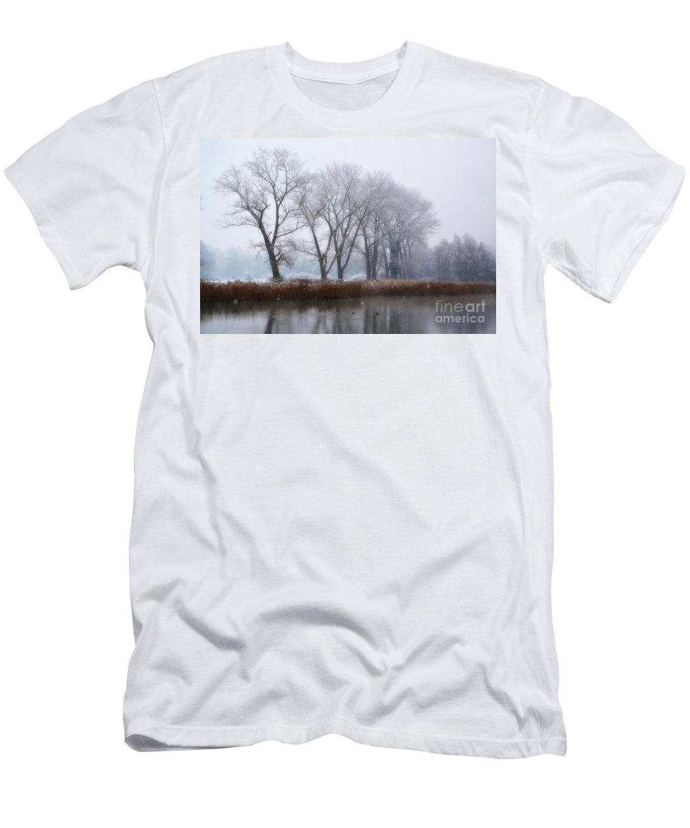 Trees Men's T-Shirt (Athletic Fit) featuring the photograph Trees On The Lake Front by Mats Silvan