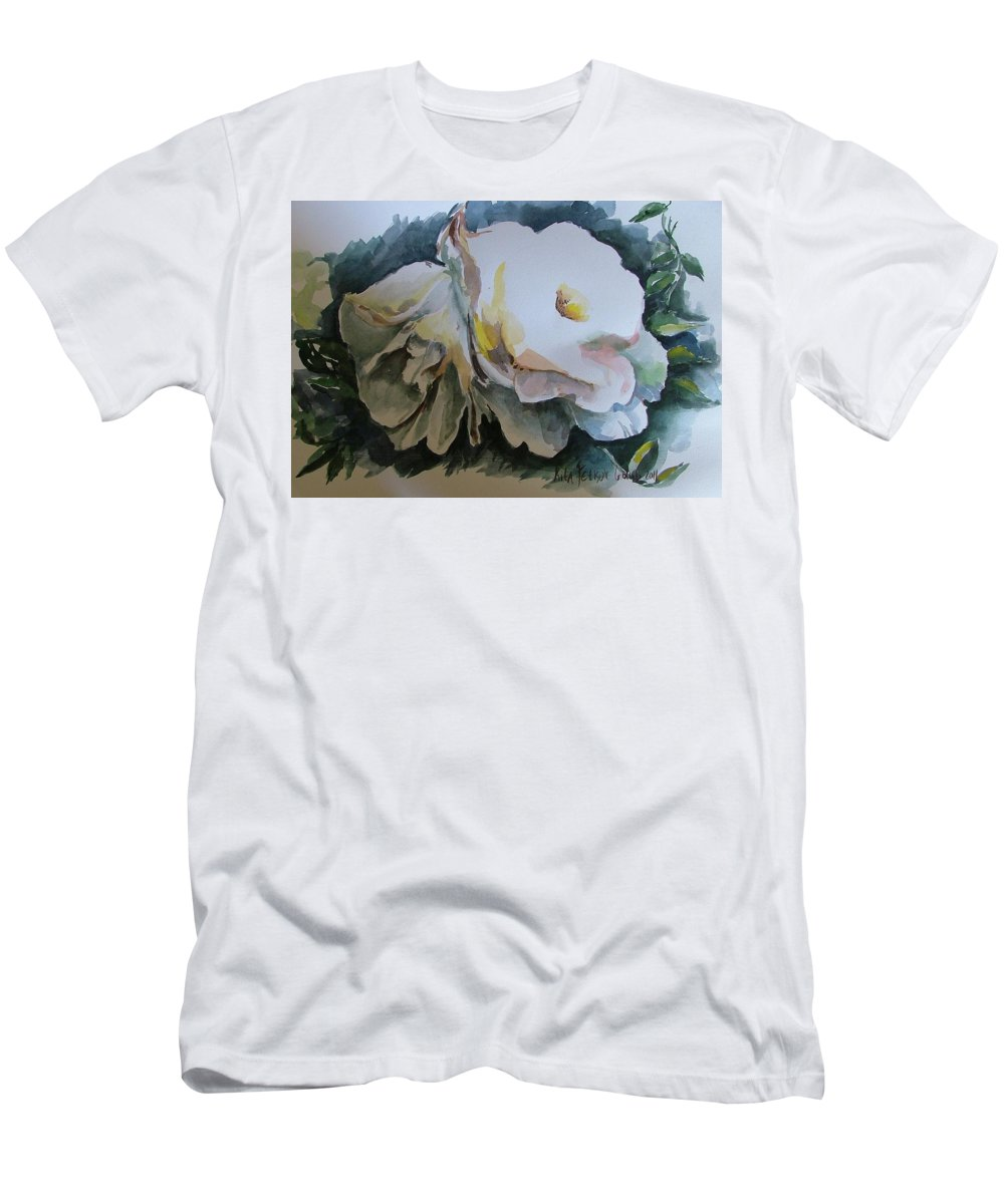 Leaves Men's T-Shirt (Athletic Fit) featuring the painting White Flowers by Rita Fetisov