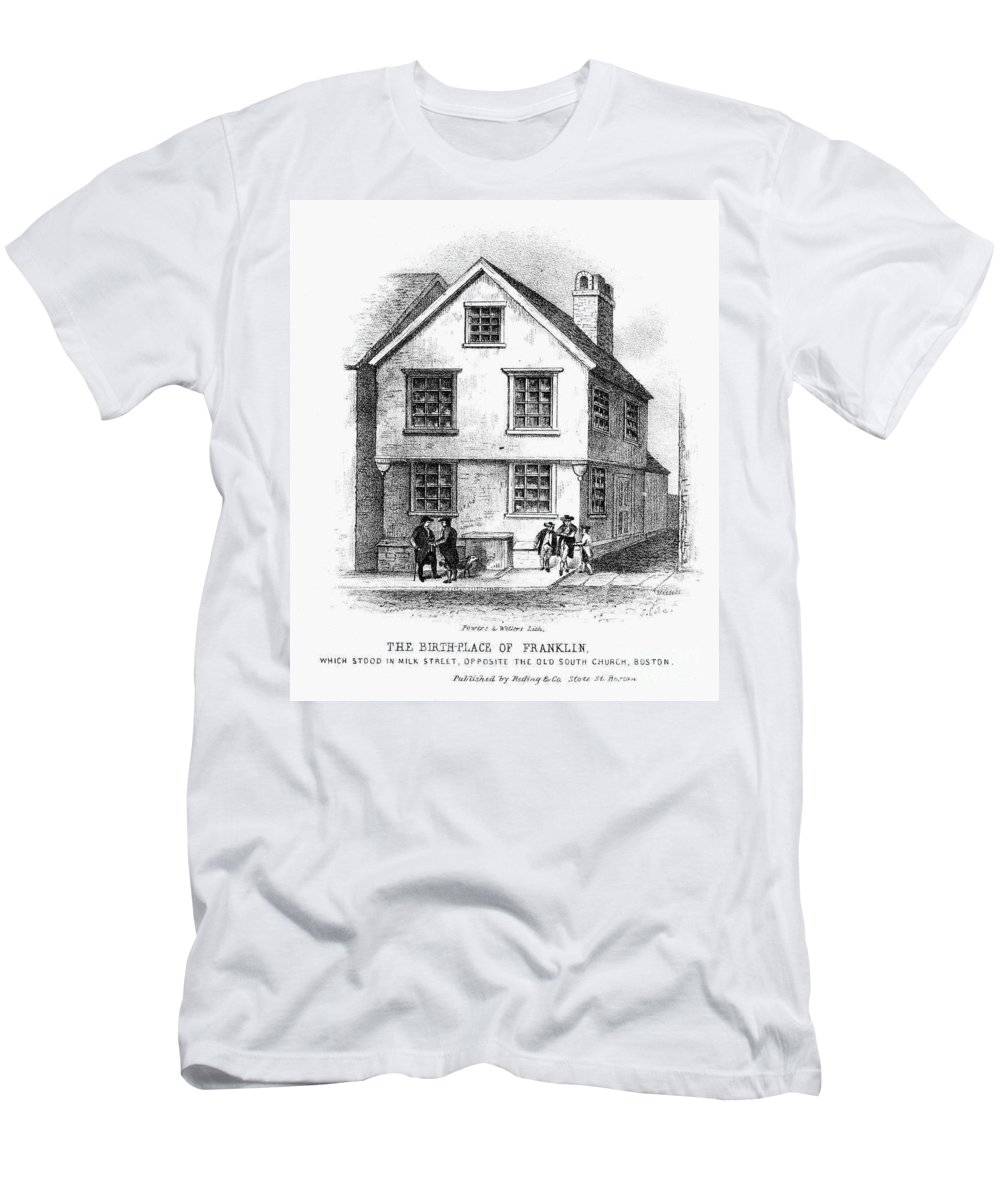 18th Century Men's T-Shirt (Athletic Fit) featuring the photograph Benjamin Franklin by Granger