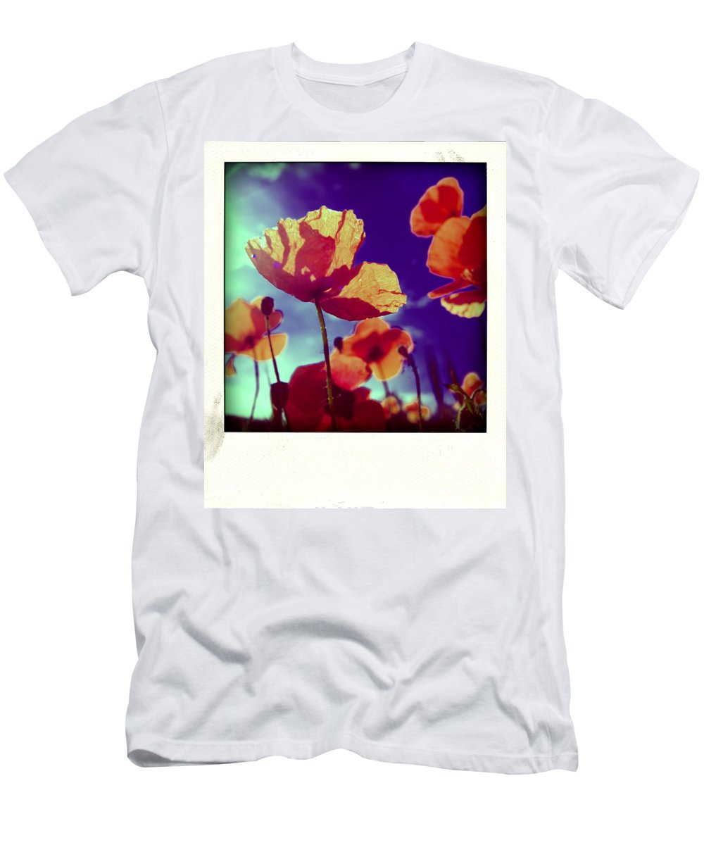 Botany Men's T-Shirt (Athletic Fit) featuring the photograph Field Of Poppies by Bernard Jaubert