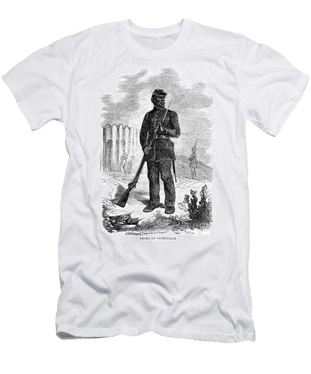 1864 Men's T-Shirt (Athletic Fit) featuring the photograph Civil War: Black Troops by Granger