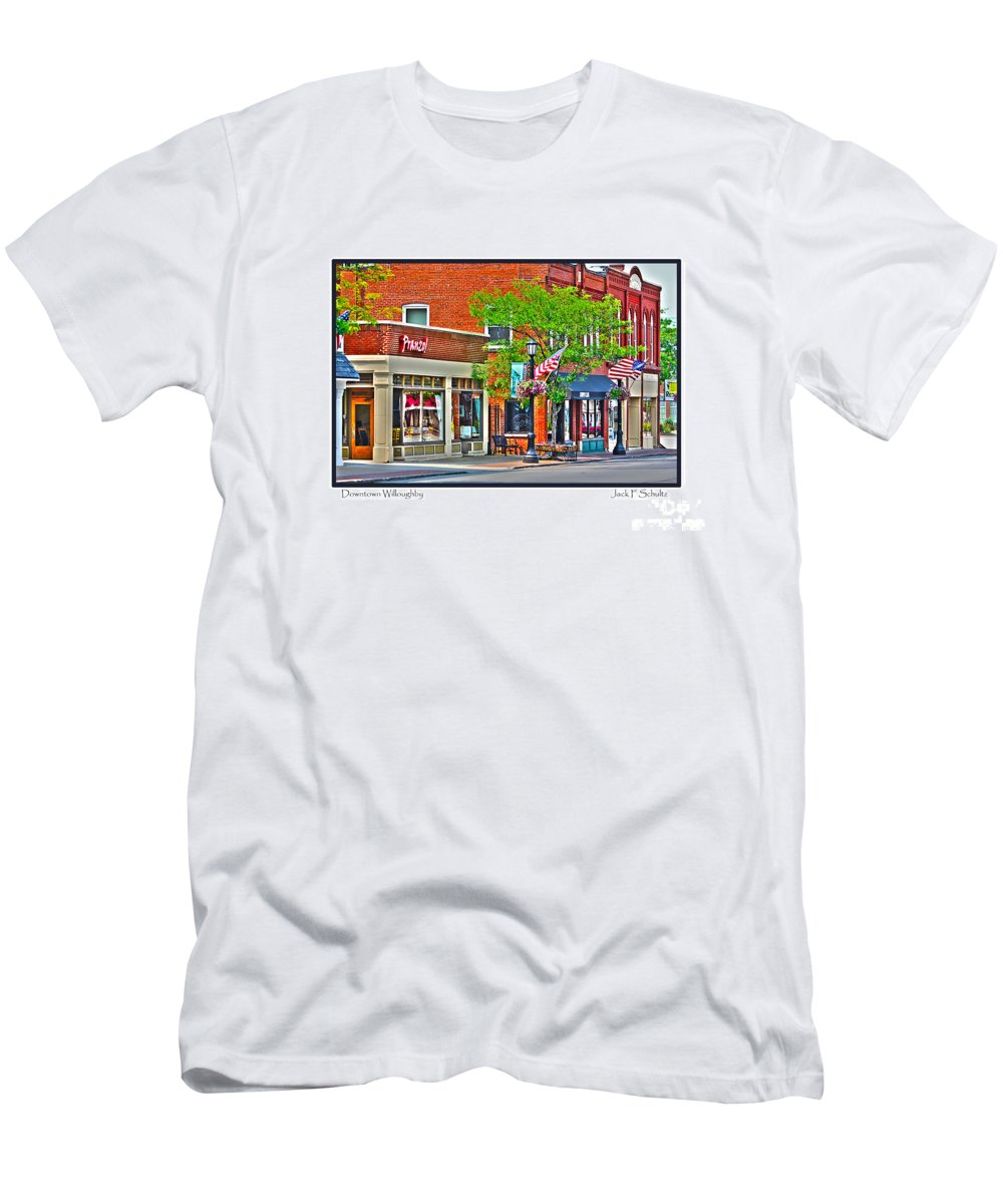 Downtown Willoughby Men's T-Shirt (Athletic Fit) featuring the photograph Downtown Willoughby by Jack Schultz