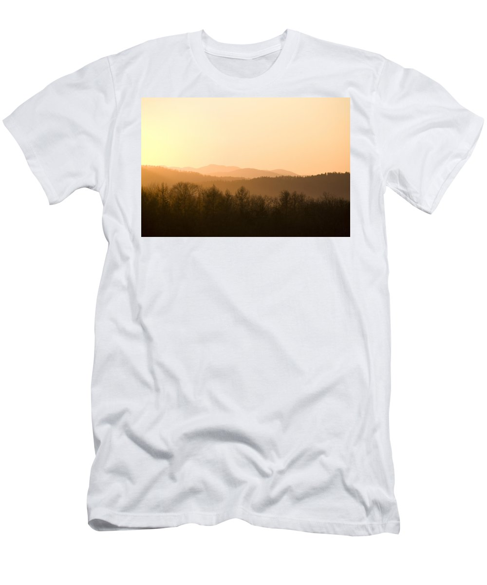 Mountains Men's T-Shirt (Athletic Fit) featuring the photograph Mountains On Fire by Ian Middleton