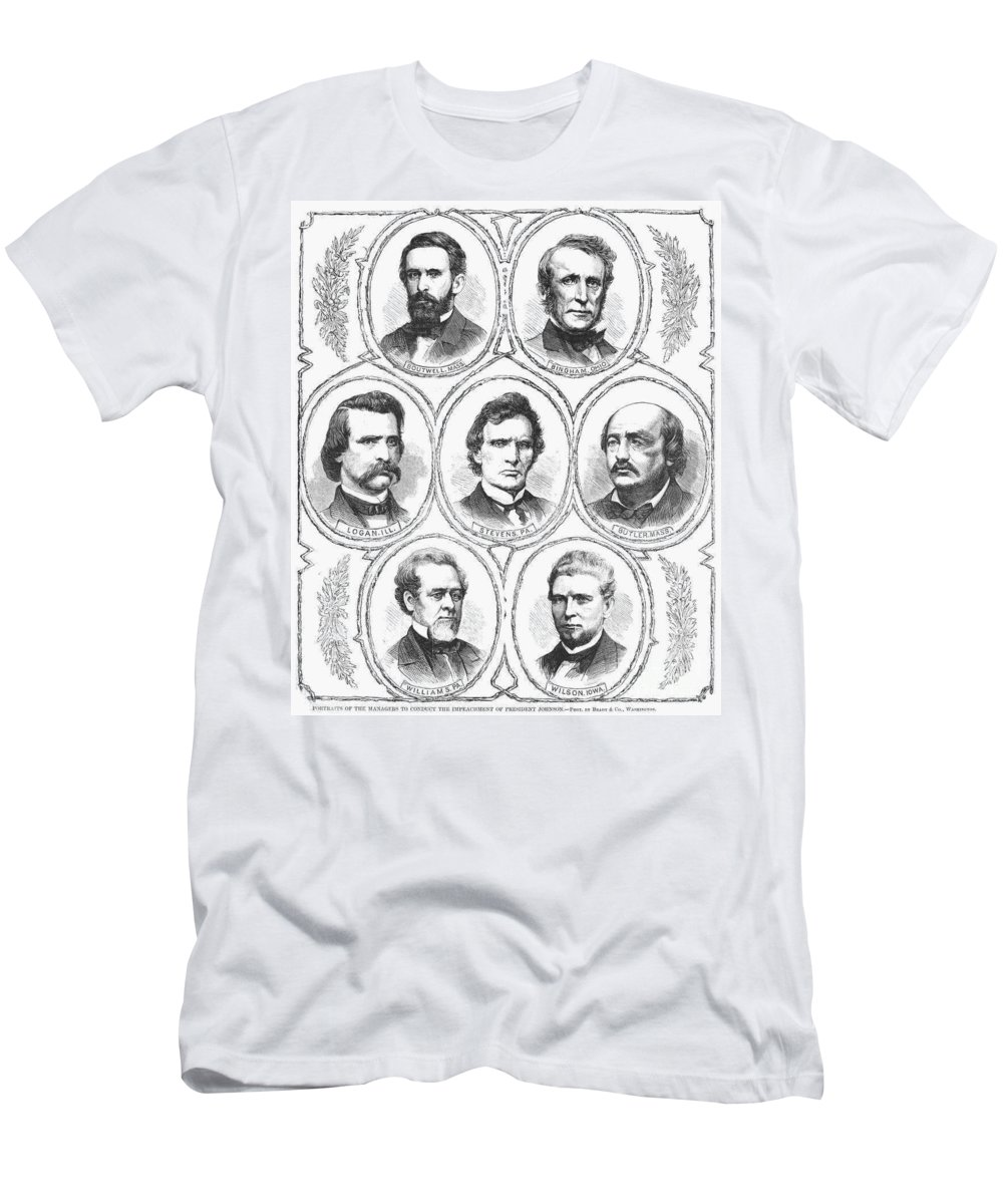 1868 Men's T-Shirt (Athletic Fit) featuring the photograph Johnson Impeachment Trial by Granger