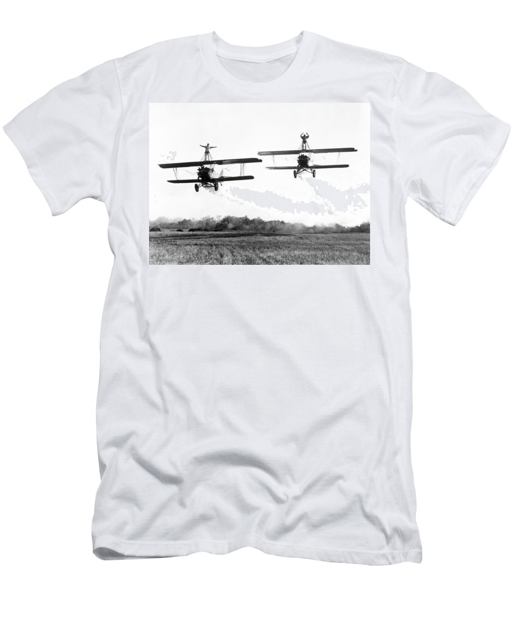 -stunts- Men's T-Shirt (Athletic Fit) featuring the photograph Silent Film Still: Stunts by Granger