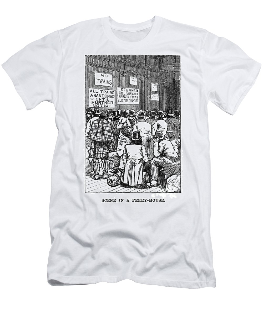 1888 Men's T-Shirt (Athletic Fit) featuring the photograph New York: Blizzard Of 1888 by Granger