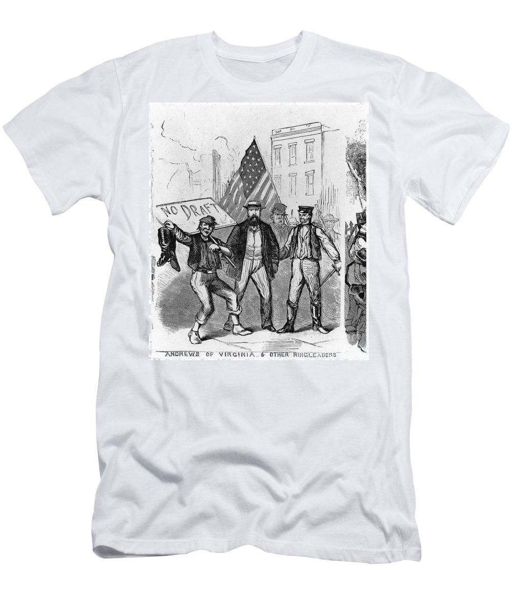 1863 Men's T-Shirt (Athletic Fit) featuring the photograph New York: Draft Riots, 1863 by Granger