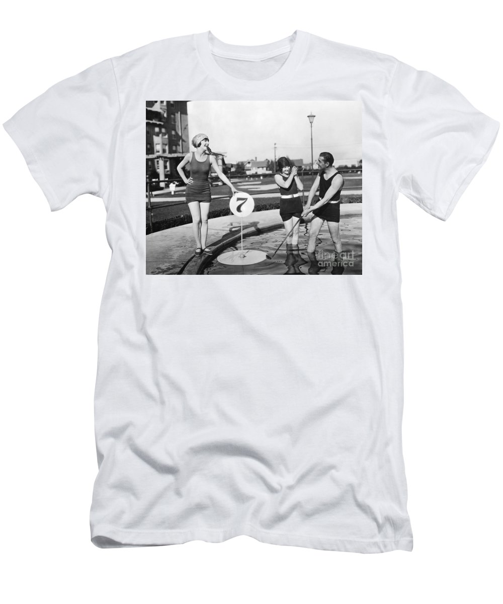 -sports- Men's T-Shirt (Athletic Fit) featuring the photograph Silent Film Still: Golf by Granger