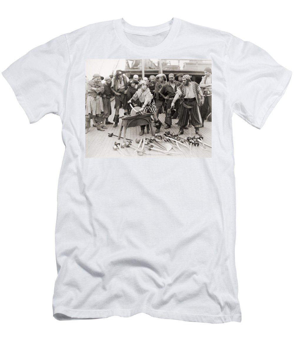 -nec08- Men's T-Shirt (Athletic Fit) featuring the photograph Silent Film Still: Pirates by Granger