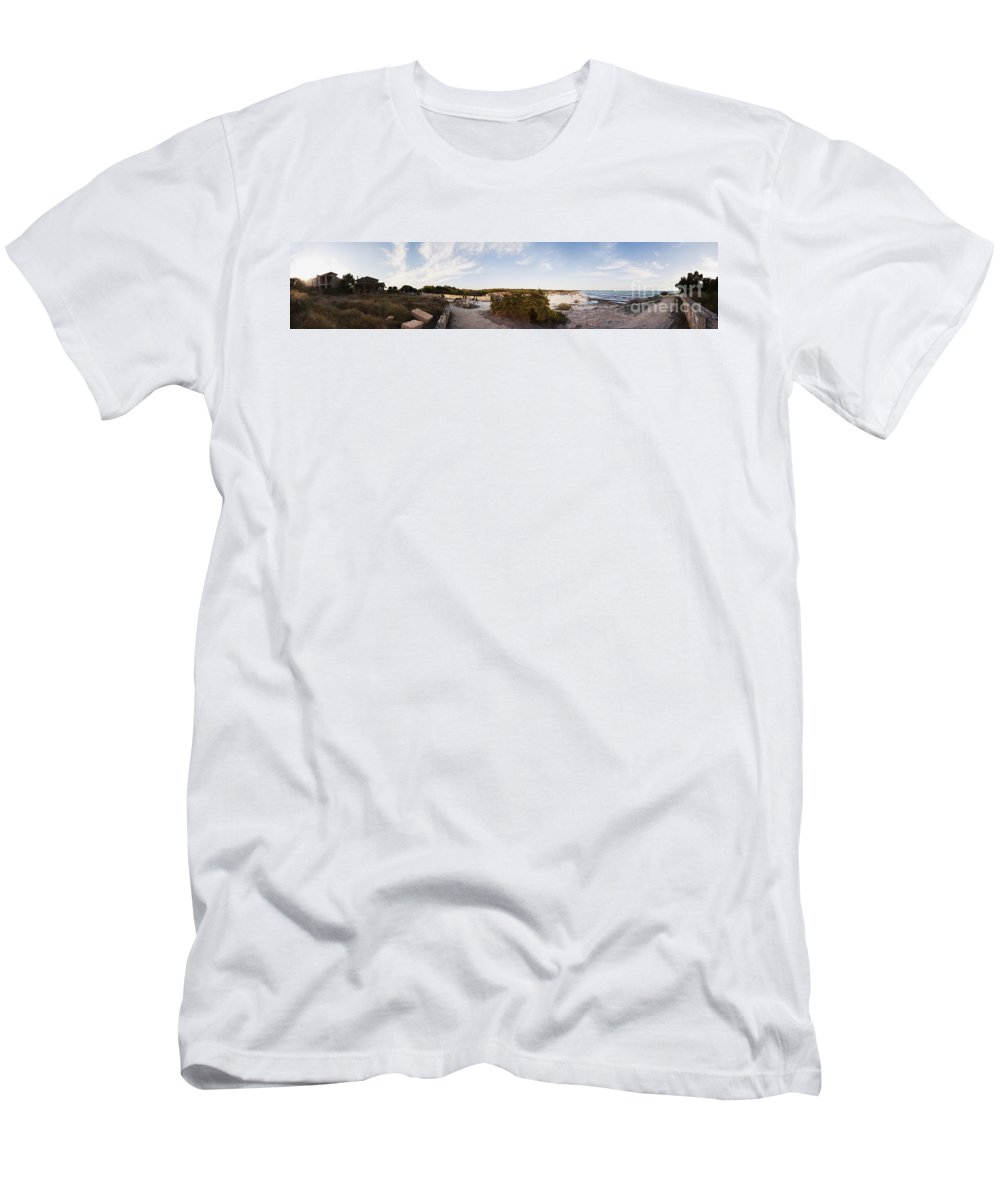 Panoramica Men's T-Shirt (Athletic Fit) featuring the photograph Access To The Beach Of Es Trenc by Agusti Pardo Rossello