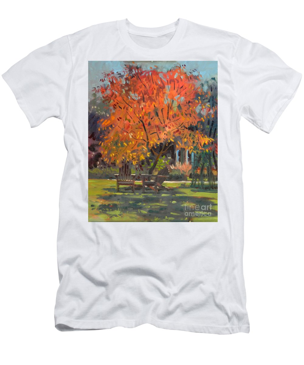 Smith Men's T-Shirt (Athletic Fit) featuring the painting Adirondack Chairs by Donald Maier