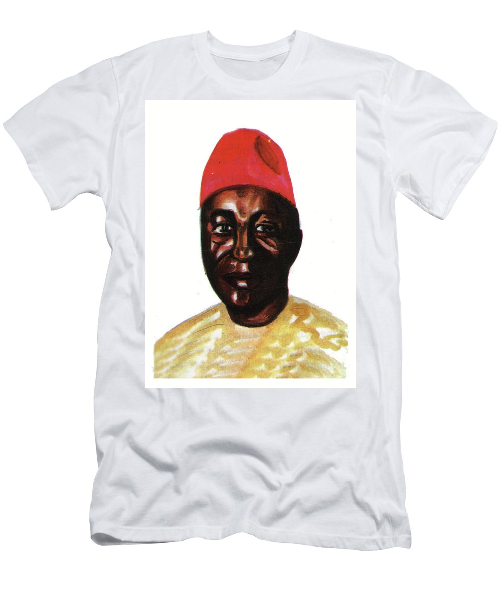 Portraits Men's T-Shirt (Athletic Fit) featuring the painting Amadou Hampate Ba by Emmanuel Baliyanga