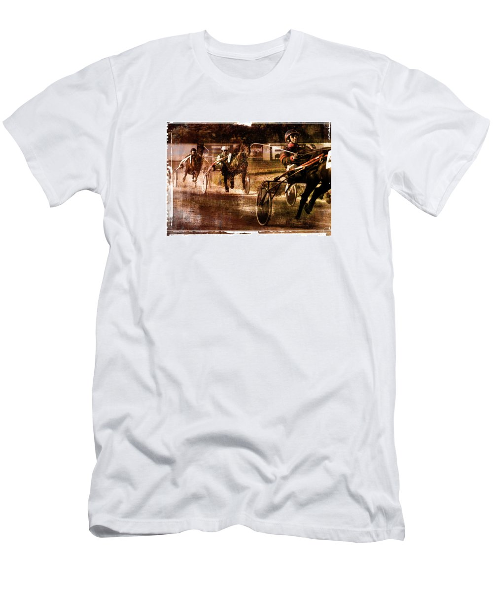 Horse Men's T-Shirt (Athletic Fit) featuring the photograph and the winner is - A vintage processed Menorca trotting race by Pedro Cardona Llambias