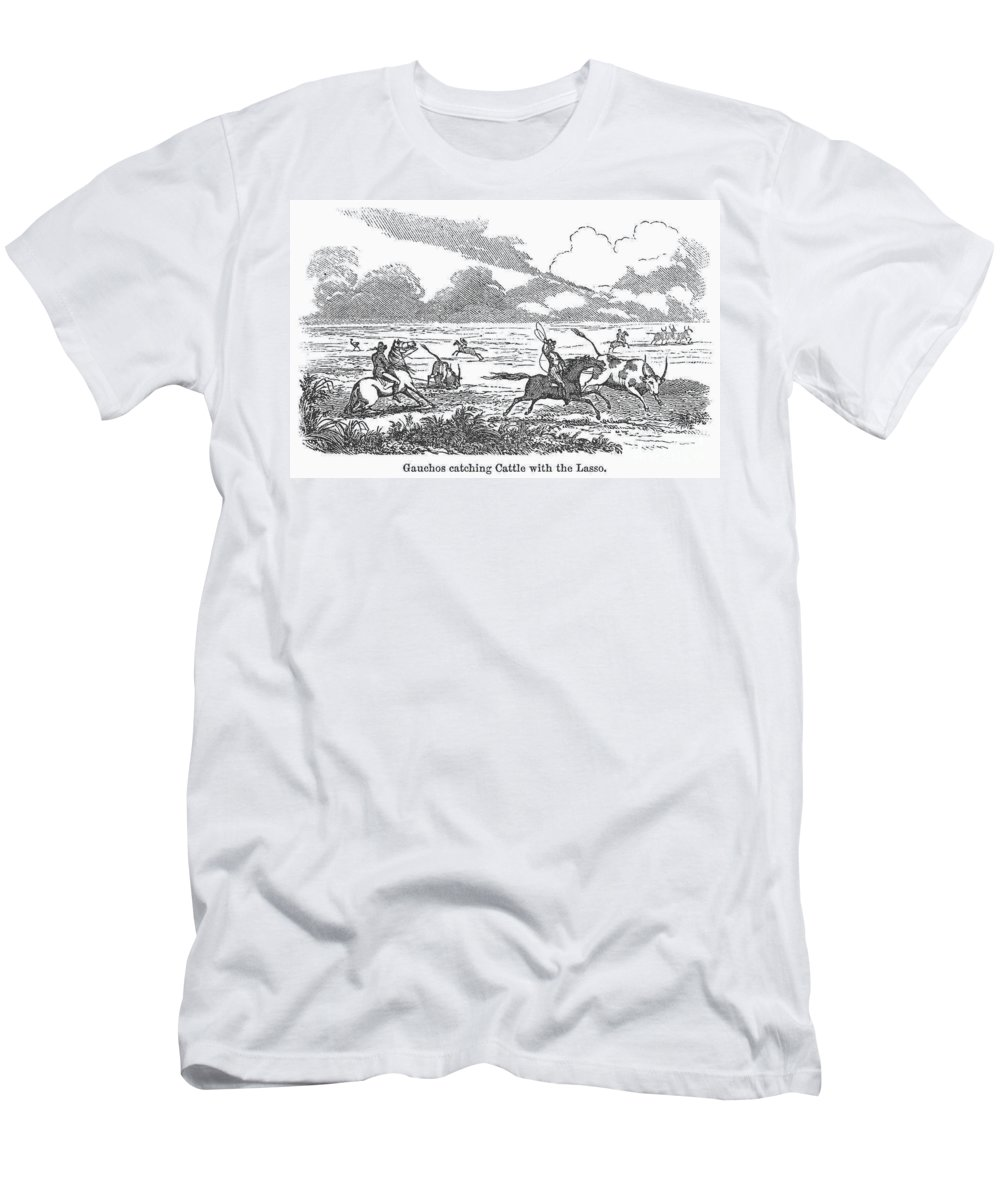 1853 Men's T-Shirt (Athletic Fit) featuring the photograph Argentina: Gauchos, 1853 by Granger