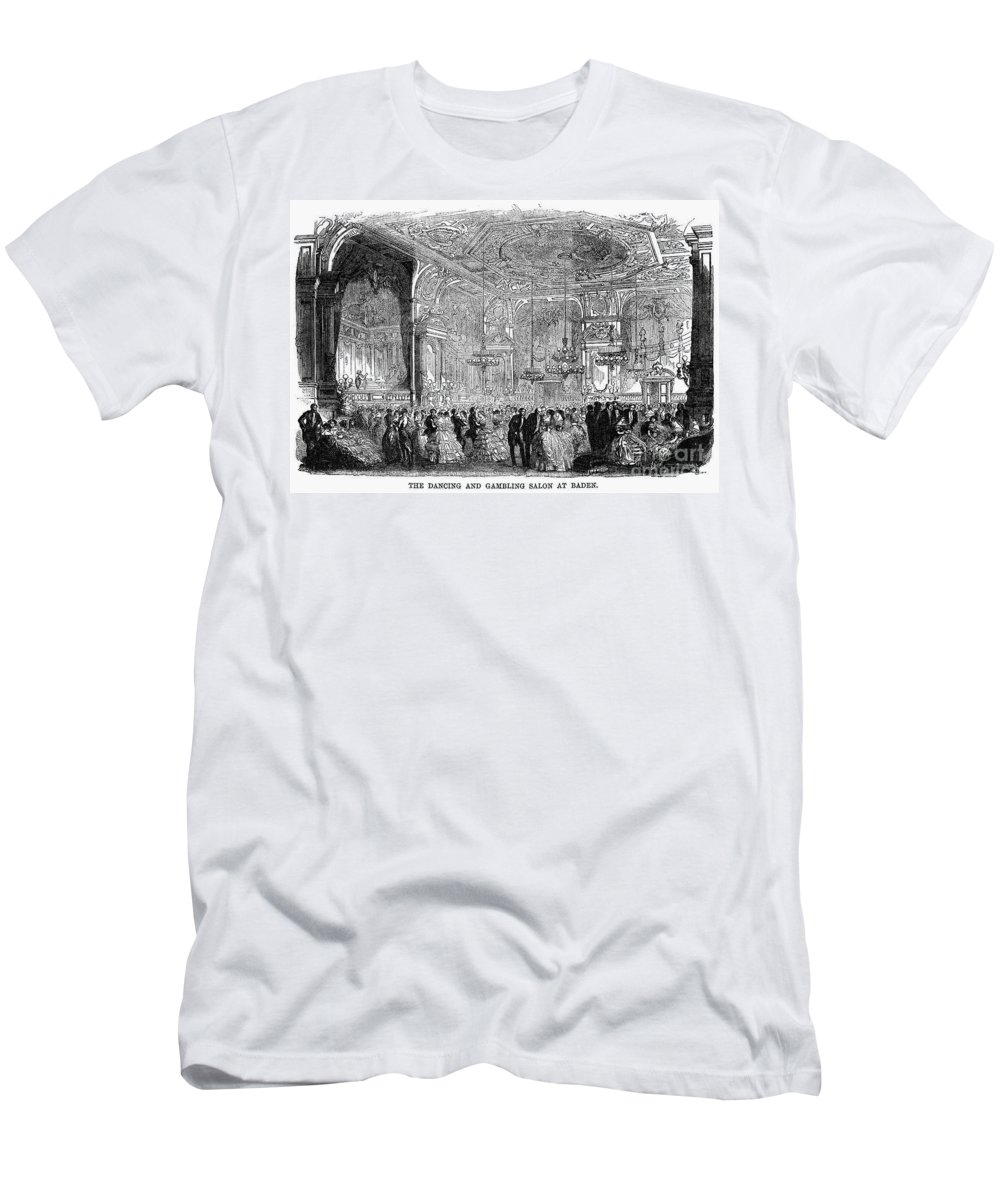 1858 Men's T-Shirt (Athletic Fit) featuring the photograph Baden-baden: Salon, 1858 by Granger