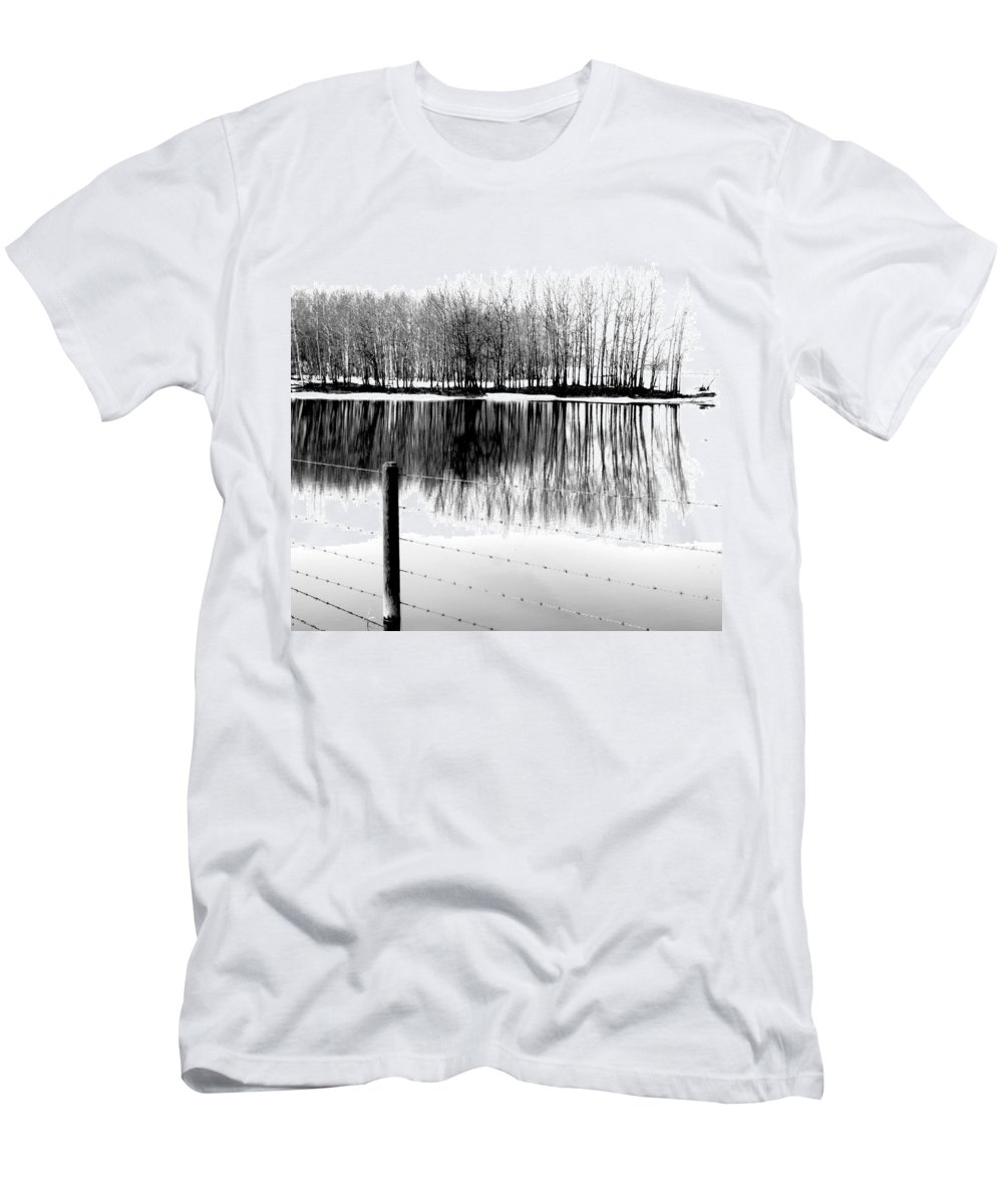 Rural Decay Men's T-Shirt (Athletic Fit) featuring the photograph Barbed Water by The Artist Project