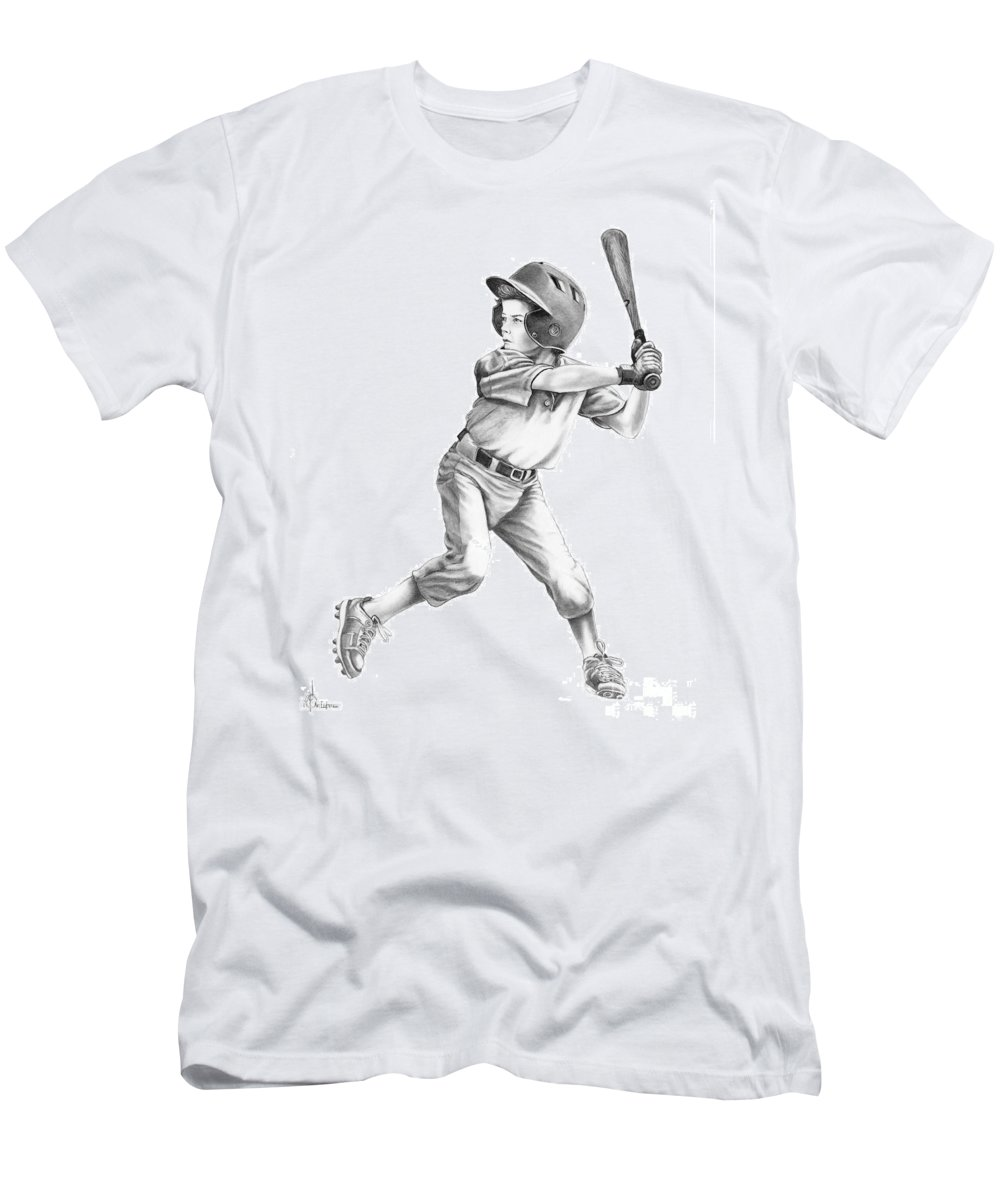 Drawing Men's T-Shirt (Athletic Fit) featuring the drawing Baseball Kid by Murphy Elliott