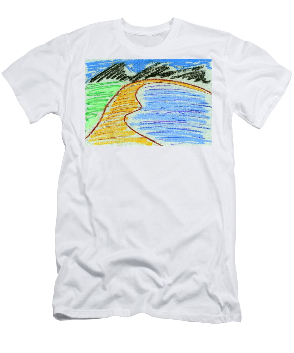 Pastels Men's T-Shirt (Athletic Fit) featuring the painting Bay by Hakon Soreide