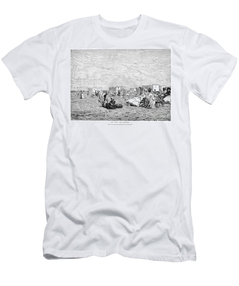19th Century Men's T-Shirt (Athletic Fit) featuring the photograph Beach Scene, 19th Century by Granger