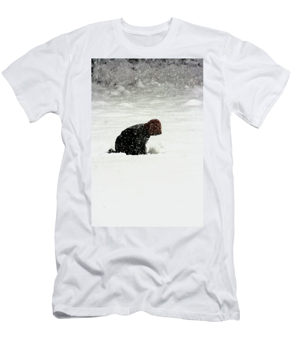 Children Men's T-Shirt (Athletic Fit) featuring the photograph Beginning Of A Snow Man by Lisa Stanley
