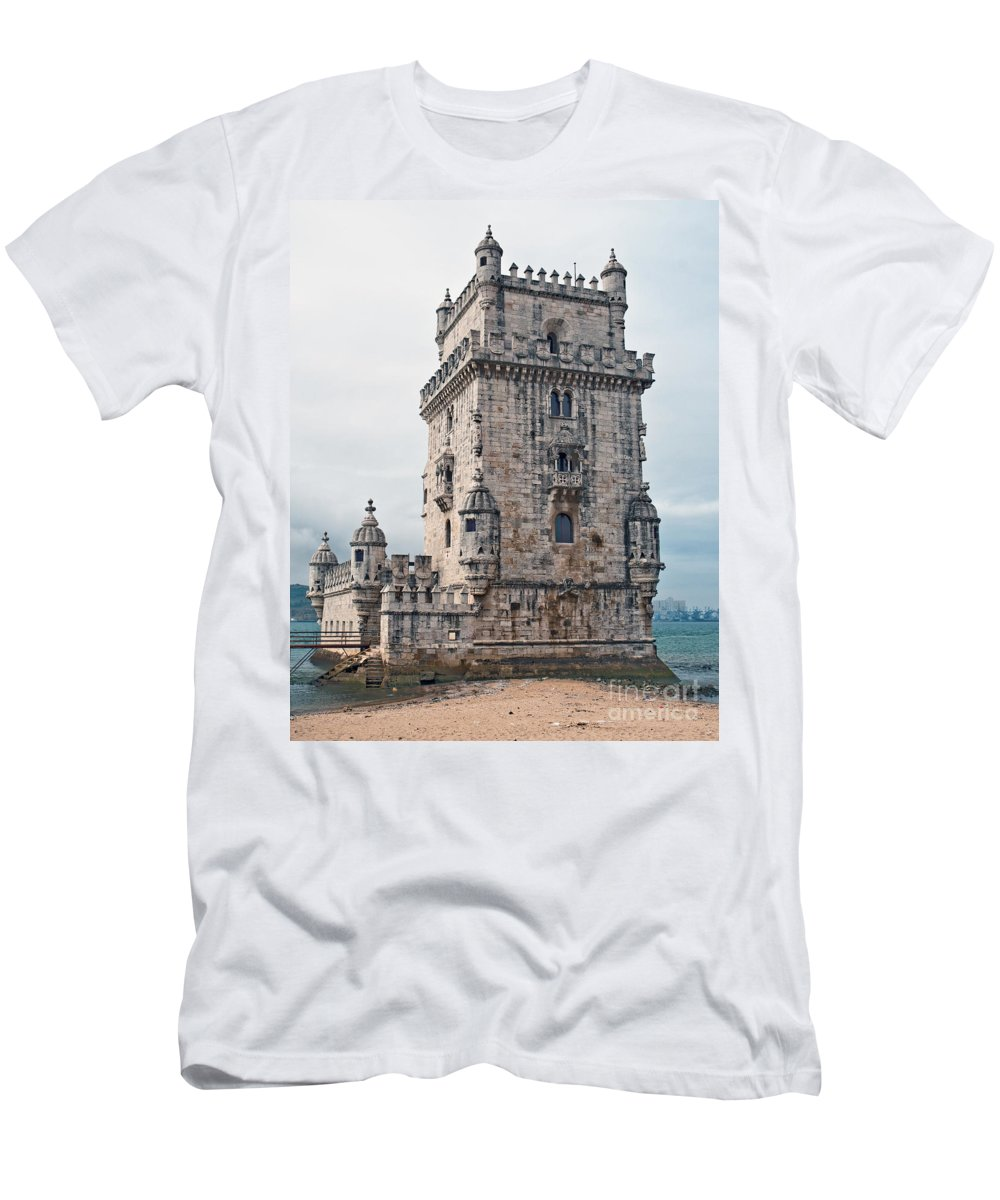 Place Men's T-Shirt (Athletic Fit) featuring the photograph Belem Tower by Jim Chamberlain