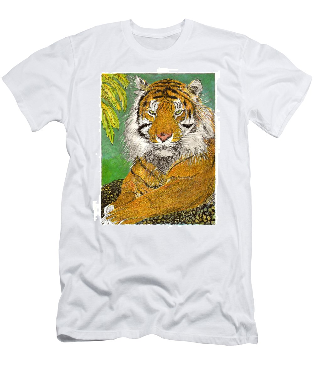 Framed Art Prints Of The Bengal Tiger Men's T-Shirt (Athletic Fit) featuring the painting Bengal Tiger With Green Eyes by Jack Pumphrey