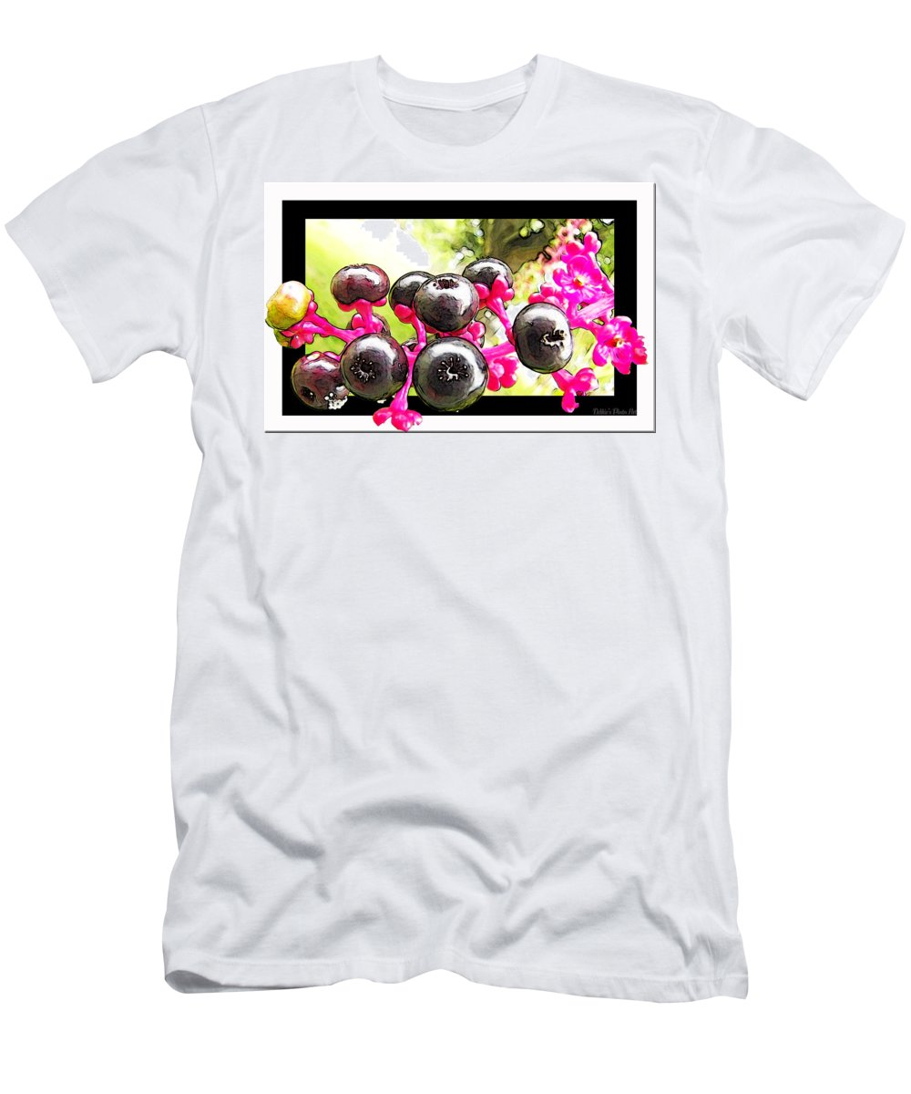 Nature Men's T-Shirt (Athletic Fit) featuring the photograph Berry Burst  Poke Berries by Debbie Portwood