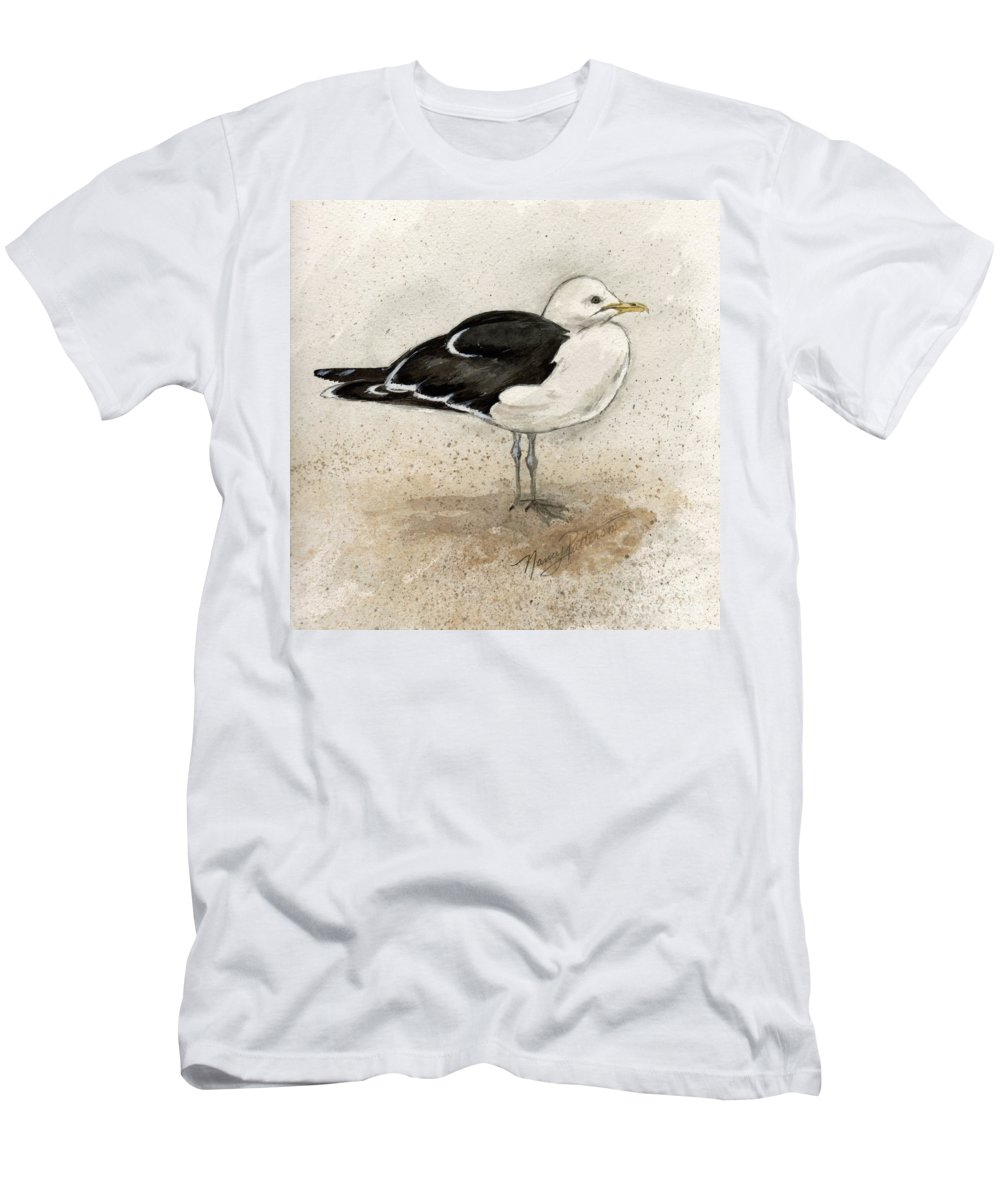 Seagull Men's T-Shirt (Athletic Fit) featuring the painting Black Backed Gull by Nancy Patterson