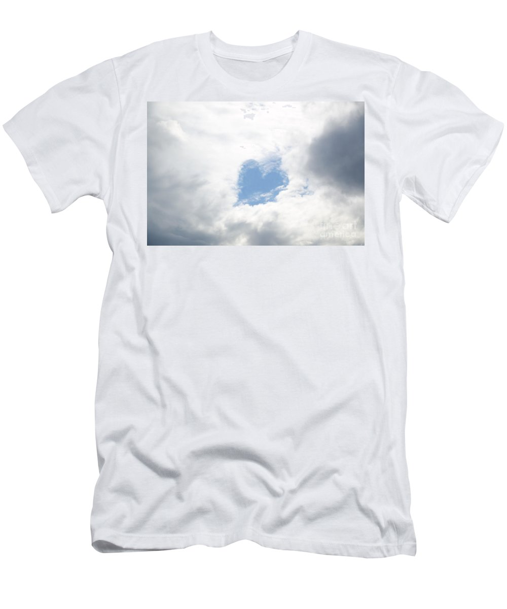 Heart Men's T-Shirt (Athletic Fit) featuring the photograph Blue Heart In Sky by Mats Silvan