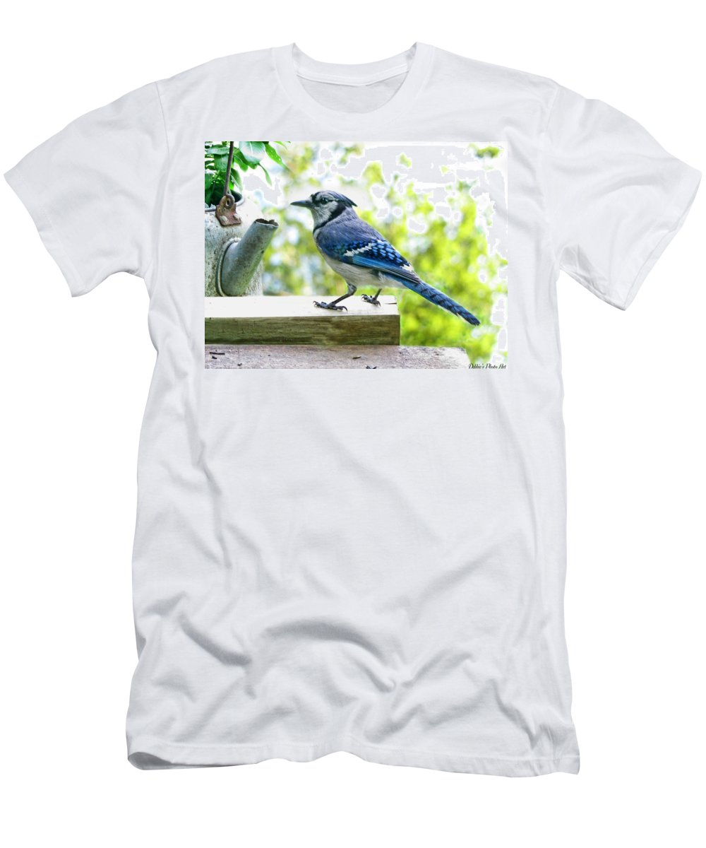 Nature Men's T-Shirt (Athletic Fit) featuring the photograph Blue Jay by Debbie Portwood