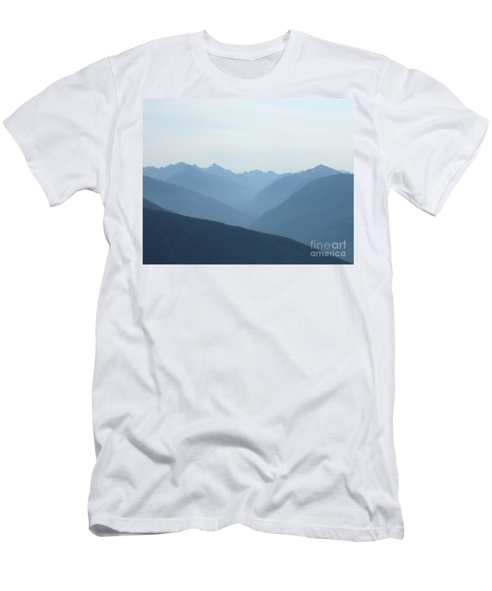 Landscape Men's T-Shirt (Athletic Fit) featuring the photograph Blue Mountain Mist by Lauren Leigh Hunter Fine Art Photography