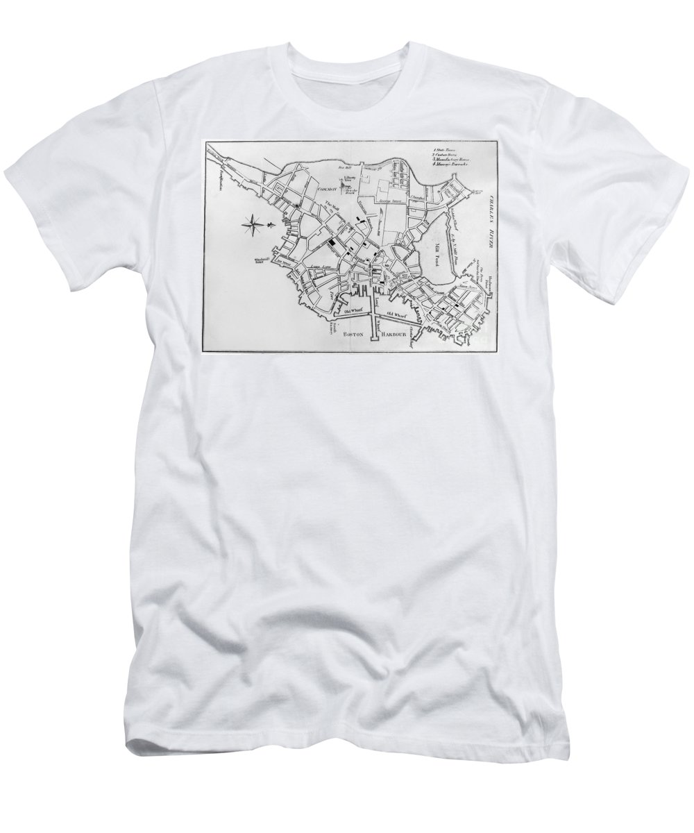 1770 Men's T-Shirt (Athletic Fit) featuring the photograph Boston: Map, 1770 by Granger