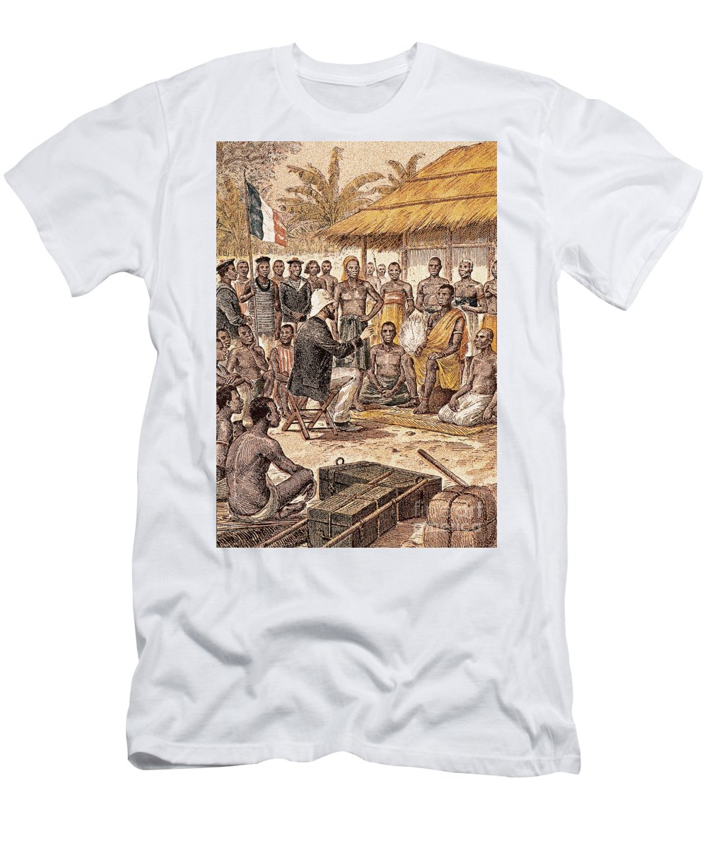 1880 Men's T-Shirt (Athletic Fit) featuring the photograph Brazza In Africa, 1880 by Granger