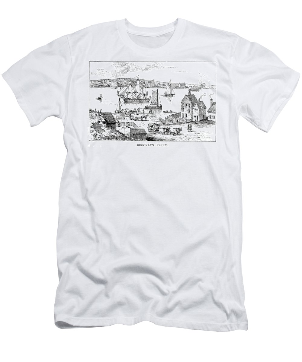 18th Century Men's T-Shirt (Athletic Fit) featuring the photograph Brooklyn Ferry, C1765 by Granger