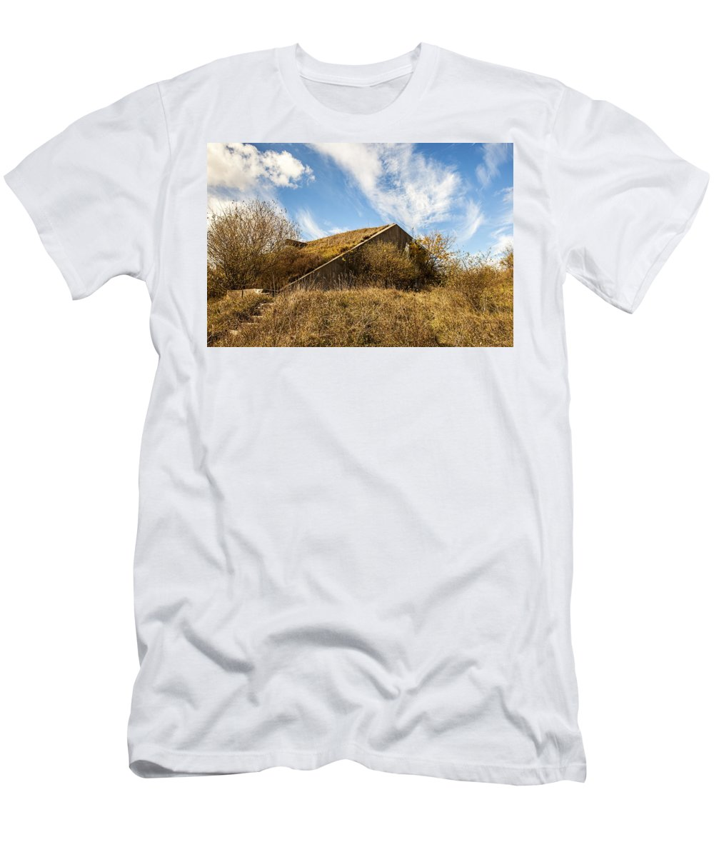 Baap Men's T-Shirt (Athletic Fit) featuring the photograph Bunker Down by CJ Schmit