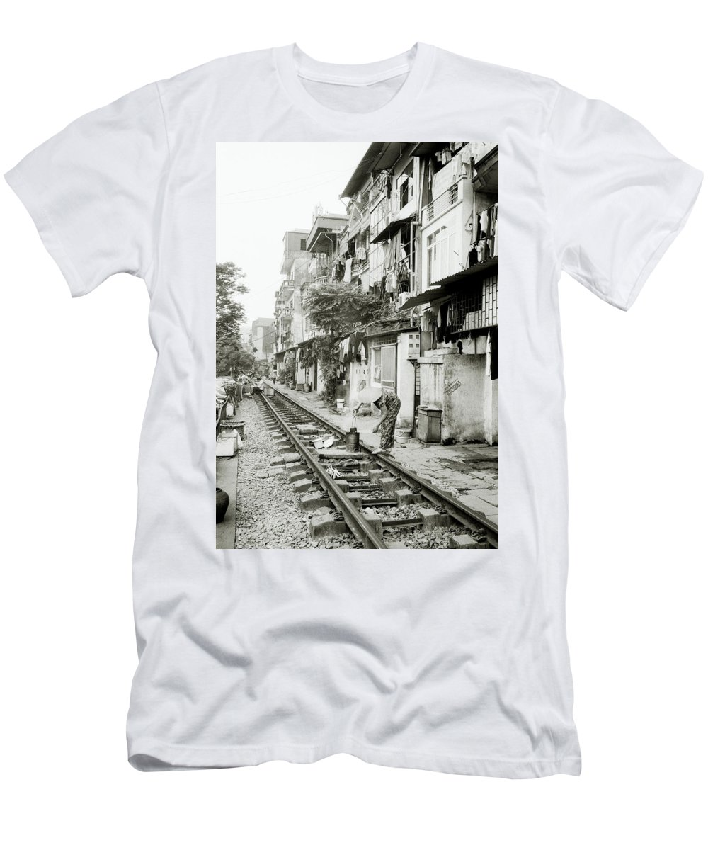 Asia Men's T-Shirt (Athletic Fit) featuring the photograph By The Tracks In Hanoi by Shaun Higson