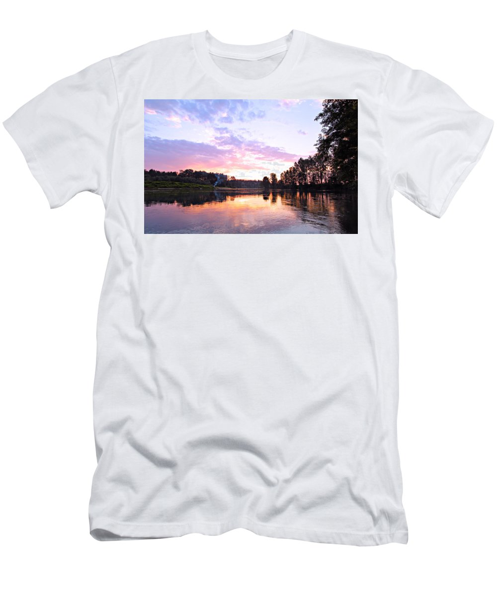 Landscape Men's T-Shirt (Athletic Fit) featuring the photograph Camp Fire Sunset by Paul Fell