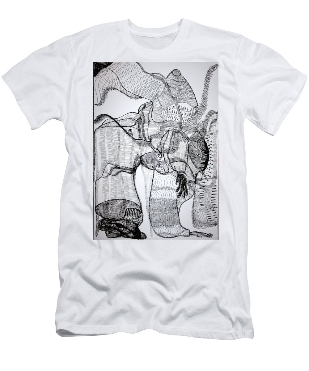 Jesus Men's T-Shirt (Athletic Fit) featuring the drawing Capoeira by Gloria Ssali