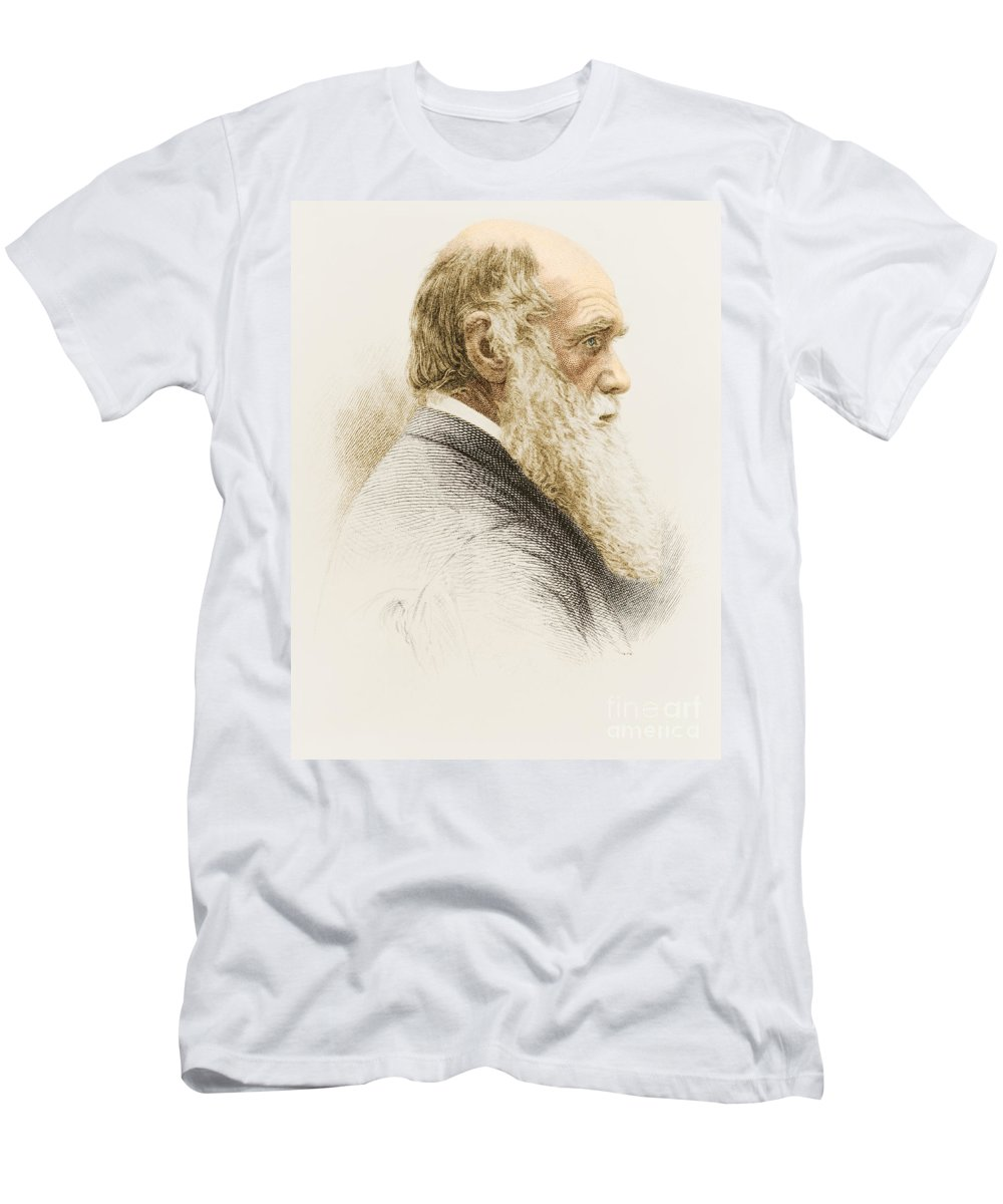 History Men's T-Shirt (Athletic Fit) featuring the photograph Charles Robert Darwin, English by Science Source