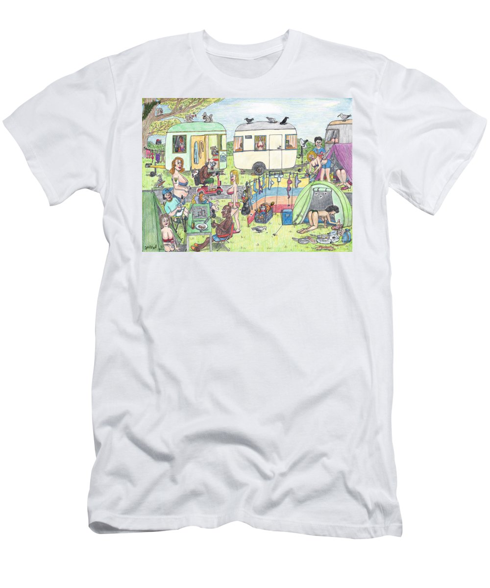 Camping Men's T-Shirt (Athletic Fit) featuring the drawing Chest Out Camping by Steve Royce Griffin