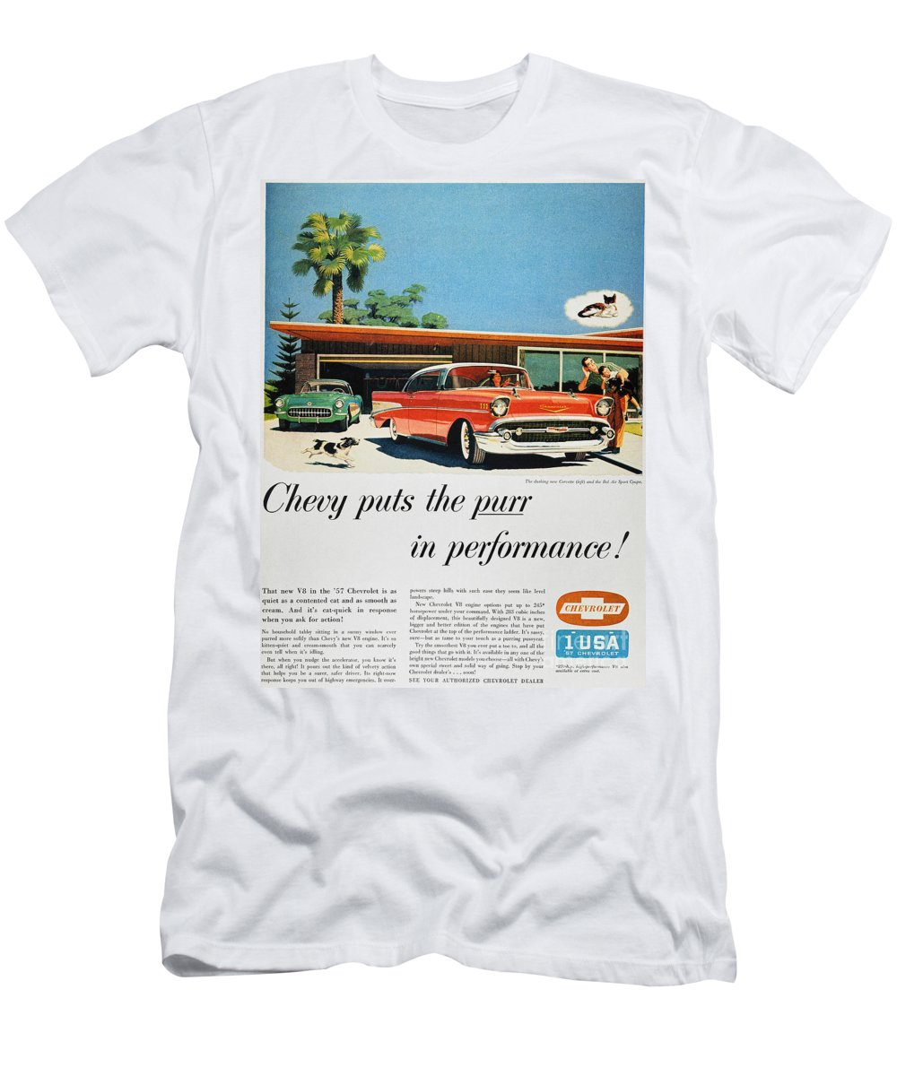 1957 Men's T-Shirt (Athletic Fit) featuring the photograph Chevrolet Ad, 1957 by Granger